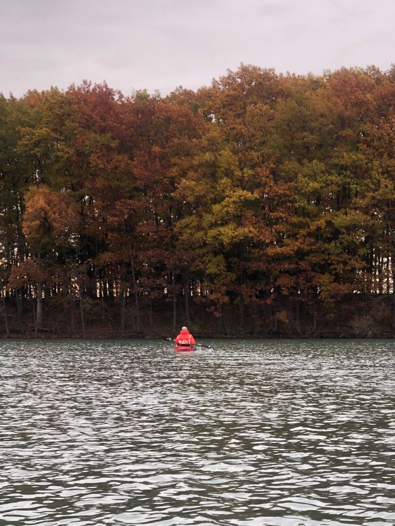 A kayaker on the water in front of colorful autumn foliage trees.